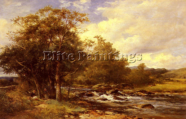FRENCH BATES DAVID RESTING BESIDE A RIVER ARTIST PAINTING REPRODUCTION HANDMADE