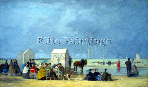 BOUDIN BATHING TIME AT DEAUVILLE BY BOUDIN 2 ARTIST PAINTING HANDMADE OIL CANVAS