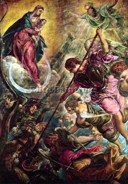 TINTORETTO BATTLE OF THE ARCHANGEL MICHAEL WITH SATAN ARTIST PAINTING HANDMADE