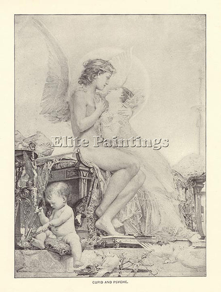 PAUL BAUDRY CUPID AND PSYCHE 1892 ARTIST PAINTING REPRODUCTION HANDMADE OIL DECO