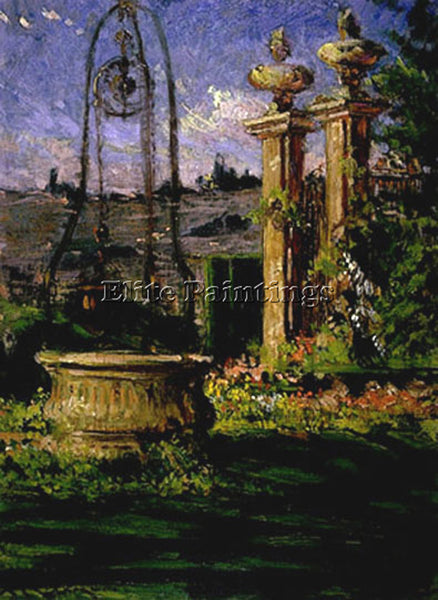 JAMES CARROLL BECKWITH IN THE GARDENS OF THE VILLA PALMIERI ARTIST PAINTING OIL