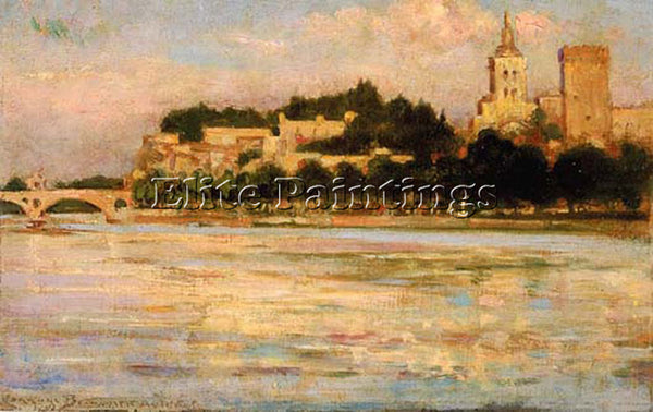 JAMES CARROLL BECKWITH THE PALACE OF THE POPES AND PONT D AVIGNON ARTIST CANVAS