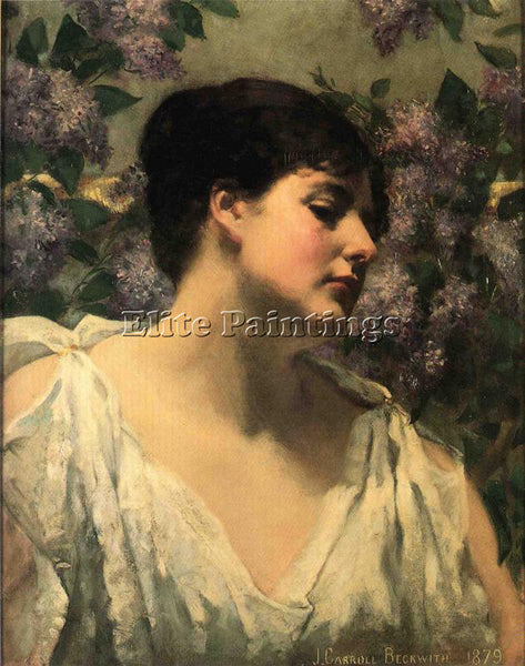 JAMES CARROLL BECKWITH UNDER THE LILACS ARTIST PAINTING REPRODUCTION HANDMADE