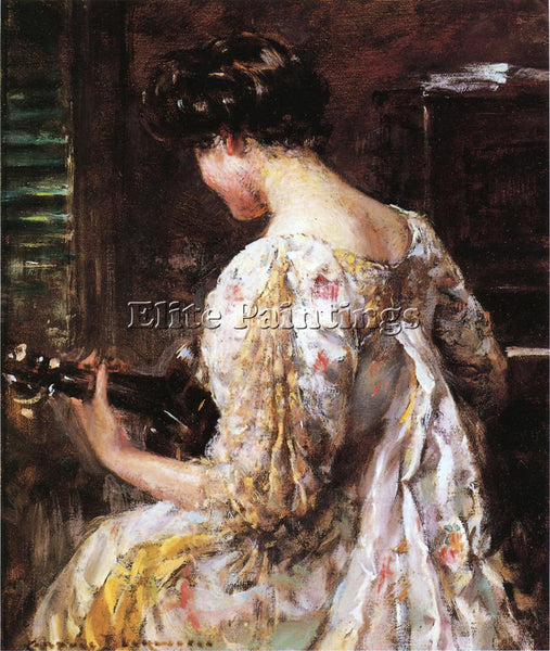 JAMES CARROLL BECKWITH WOMAN WITH GUITAR ARTIST PAINTING REPRODUCTION HANDMADE
