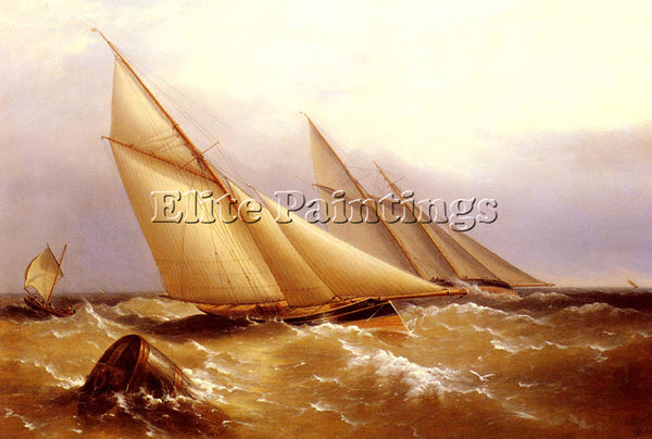 BEECHEY CAPTAIN RICHARD BRYDGES SCHOONER AND CUTTER YACHT ROUNDING BUOY PAINTING