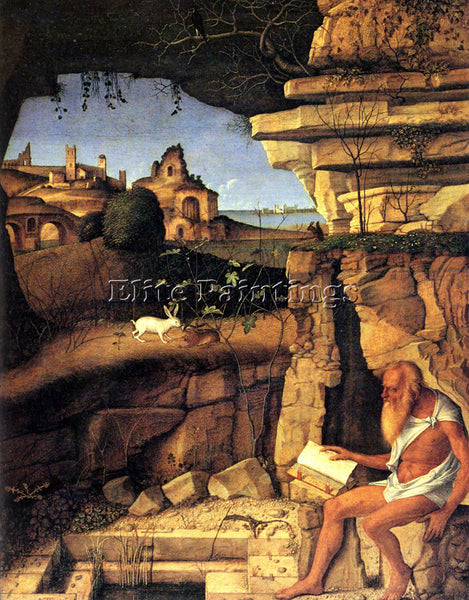 GIOVANNI BELLINI SAINT JEROME READING ARTIST PAINTING REPRODUCTION HANDMADE OIL