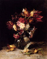BELGIAN BELLIS HUBERT STILL LIFE OF TULIPS AND CARNATIONS IN A VASE PAINTING OIL