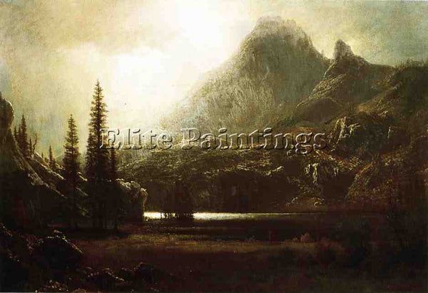ALBERT BIERSTADT BY A MOUNTAIN LAKE ARTIST PAINTING REPRODUCTION HANDMADE OIL