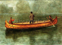 ALBERT BIERSTADT FISHING FROM A CANOE ARTIST PAINTING REPRODUCTION HANDMADE OIL