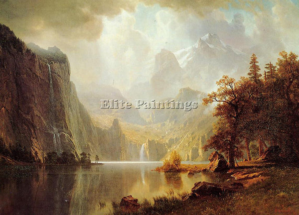 ALBERT BIERSTADT IN THE MOUNTAINS ARTIST PAINTING REPRODUCTION HANDMADE OIL DECO