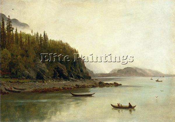 ALBERT BIERSTADT INDIANS FISHING ARTIST PAINTING REPRODUCTION HANDMADE OIL REPRO