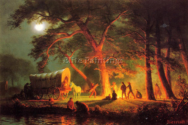 ALBERT BIERSTADT OREGON TRAIL ARTIST PAINTING REPRODUCTION HANDMADE CANVAS REPRO