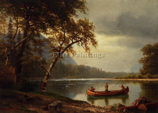 ALBERT BIERSTADT SALMON FISHING ON THE CASCAPEDIAC RIVER ARTIST PAINTING CANVAS