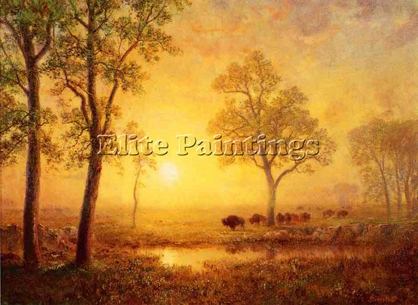 ALBERT BIERSTADT SUNSET ON THE MOUNTAIN ARTIST PAINTING REPRODUCTION HANDMADE