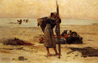FRENCH BILLET PIERRE OYSTER CATCHING ARTIST PAINTING REPRODUCTION HANDMADE OIL