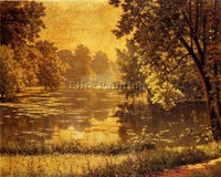 FRENCH BIVA HENRI A WOODED RIVER LANDSCAPE ARTIST PAINTING REPRODUCTION HANDMADE