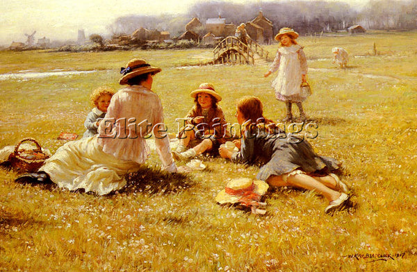 BRITISH BLACKLOCK WILLIAM KAY A PICNIC PARTY ARTIST PAINTING HANDMADE OIL CANVAS