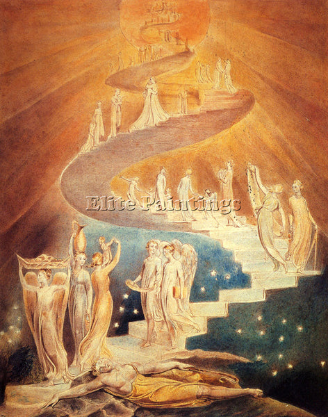 WILLIAM BLAKE JACOBS LADDER ARTIST PAINTING REPRODUCTION HANDMADE OIL CANVAS ART