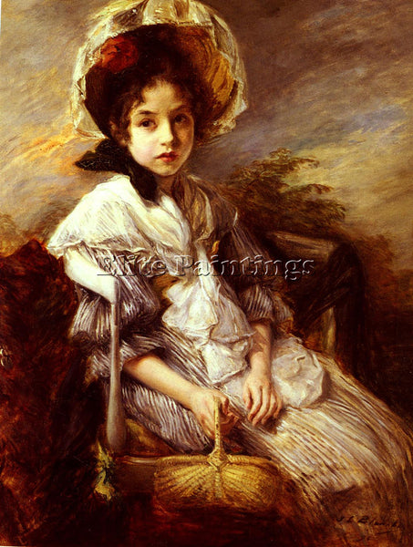 JACQUES EMILE BLANCHE PORTRAIT OF A GIRL SEATED IN A LANDSCAPE PAINTING HANDMADE