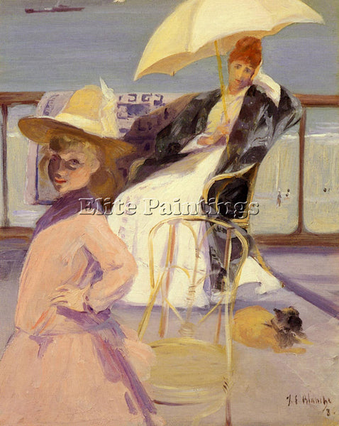 JACQUES EMILE BLANCHE SUR LA TERRASSE ARTIST PAINTING REPRODUCTION HANDMADE OIL
