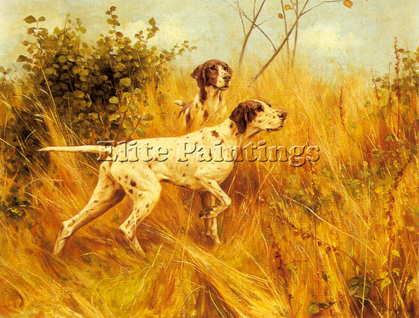 BRITISH BLINKS THOMAS TWO POINTERS IN A LANDSCAPE ARTIST PAINTING REPRODUCTION