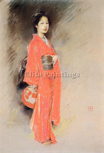 AMERICAN BLUM ROBERT FREDERICK A JAPANESE WOMAN ARTIST PAINTING REPRODUCTION OIL