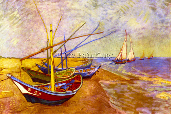 VAN GOGH BOATS OF SAINTES MARIES ARTIST PAINTING REPRODUCTION HANDMADE OIL REPRO