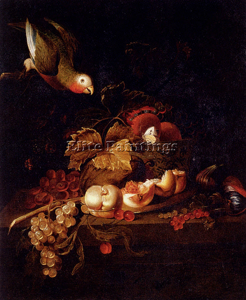 BOGDANY STILL LIFE GRAPES HALVED PEACH CHERRIES RESTING ON TABLE WITH PARROT OIL