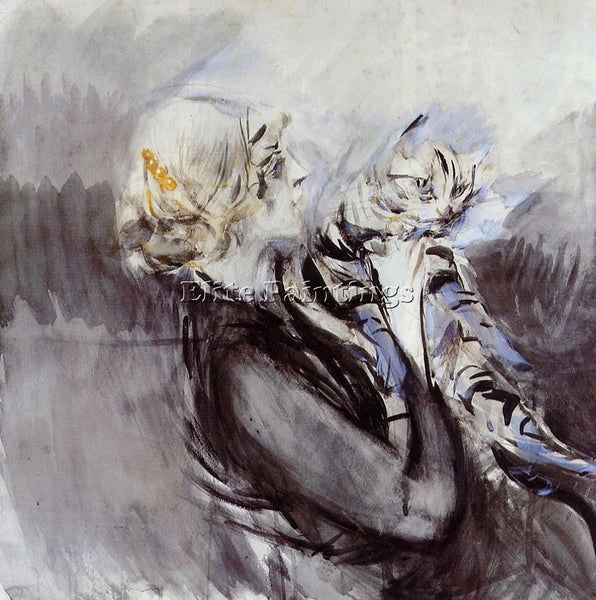 GIOVANNI BOLDINI A LADY WITH A CAT ARTIST PAINTING REPRODUCTION HANDMADE OIL ART