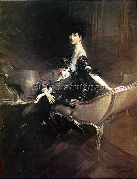 BOLDINI CONSUELO DUCHESS MARLBOROUGH WITH SON IVOR SPENCER CHURCHILL OIL CANVAS