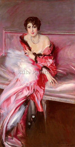 GIOVANNI BOLDINI PORTRAIT OF MADAME JUILLARD IN RED ARTIST PAINTING REPRODUCTION