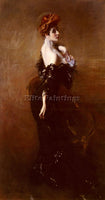 GIOVANNI BOLDINI PORTRAIT OF MADAME PAGES IN EVENING DRESS ARTIST PAINTING REPRO