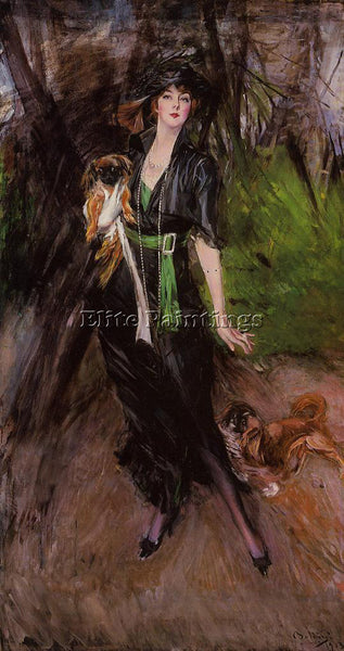GIOVANNI BOLDINI PORTRAIT OF A LADY LINA BILITIS WITH TWO PEKINESE REPRODUCTION