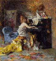 GIOVANNI BOLDINI WOMAN AT A PIANO ARTIST PAINTING REPRODUCTION HANDMADE OIL DECO