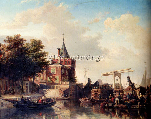 HOLLAND BOMMEL ELIAS PITER VAN VIEW SCHREIERSTOREN AMSTERDAM IN SUMMER PAINTING