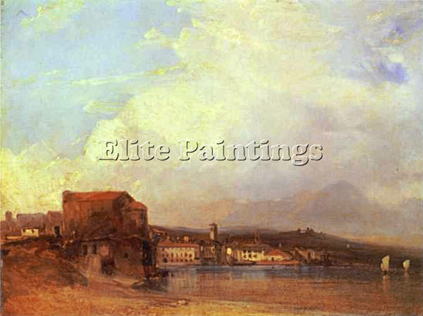 RICHARD PARKES BONINGTON PARKES LAKE LUGANO 1826 ARTIST PAINTING HANDMADE CANVAS