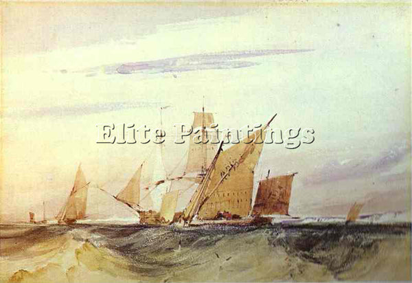 RICHARD PARKES BONINGTON PARKES SHIPPING OFF THE COAST OF KENT 1825 PAINTING OIL