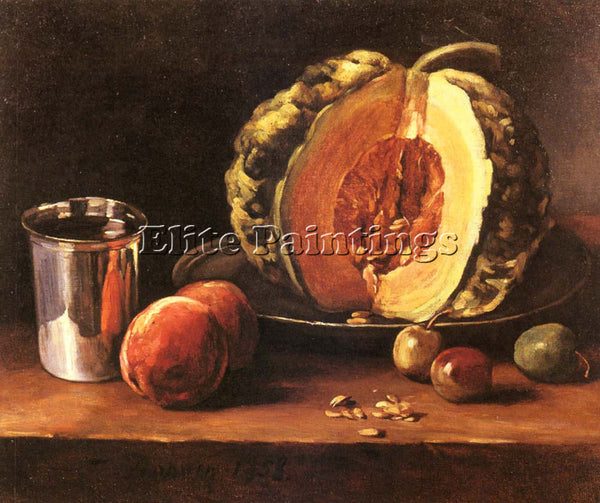 FRENCH BONVIN FRANCOIS STILL LIFE WITH A PUMPKIN PEACHES AND A SI ARTIST CANVAS