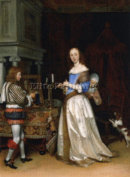 GERARD TER BORCH A LADY AT HER TOILET CA1660  ARTIST PAINTING REPRODUCTION OIL