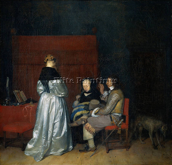 GERARD TER BORCH  II GALLANT CONVERSATION KNOWN AS PATERNAL ADMONITION PAINTING