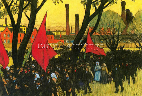 BORIS KUSTODIEV MAY DAY DEMOSTRATION AT THE PUTILOV PLANT ARTIST PAINTING CANVAS