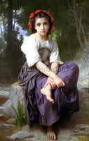 FRENCH BOUGUEREAU WILLIAM ADOLPHE AT THE EDGE ARTIST PAINTING REPRODUCTION OIL