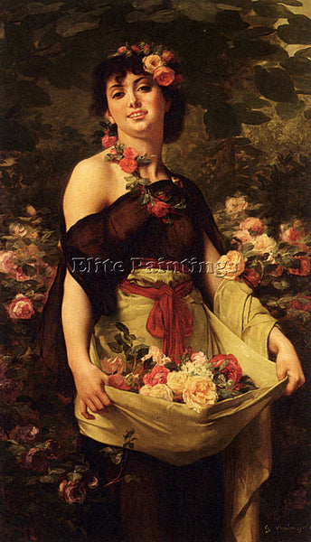 GUSTAVE CLARENCE RODOLPHE BOULANGER THE FLOWER GIRL ARTIST PAINTING REPRODUCTION
