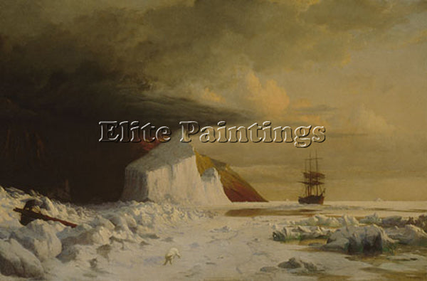 WILLIAM BRADFORD AN ARCTIC SUMMER BORING THROUGH PACK IN MELVILLE BAY ARTIST OIL