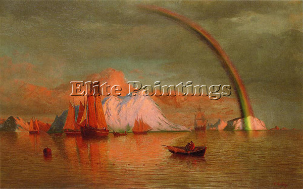 WILLIAM BRADFORD ARCTIC SUNSET WITH RAINBOW ARTIST PAINTING HANDMADE OIL CANVAS
