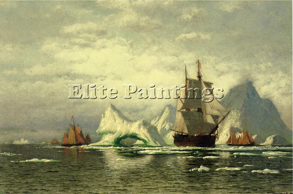 WILLIAM BRADFORD ARCTIC WHALER HOMEWARD BOUND AMONG THE ICEBERGS ARTIST PAINTING