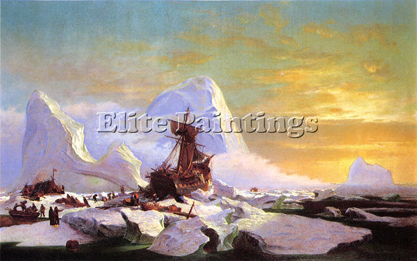 WILLIAM BRADFORD CRUSHED IN THE ICE ARTIST PAINTING REPRODUCTION HANDMADE OIL