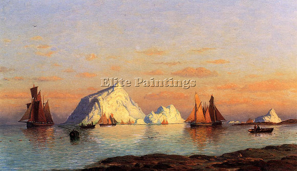 WILLIAM BRADFORD FISHERMEN OFF THE COAST OF LABRADOR ARTIST PAINTING HANDMADE