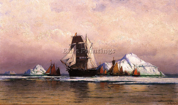 WILLIAM BRADFORD FISHING FLEET OFF LABRADOR2 ARTIST PAINTING HANDMADE OIL CANVAS