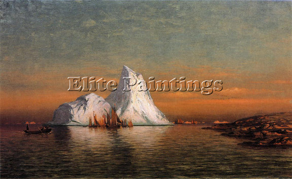 WILLIAM BRADFORD FISHING FLEET OFF LABRADOR ARTIST PAINTING HANDMADE OIL CANVAS